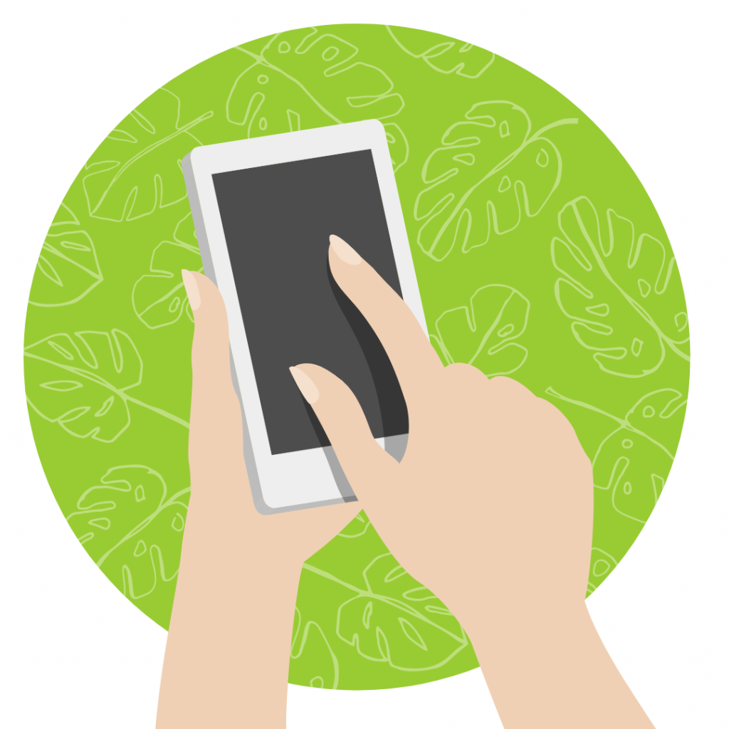 hands touching a phone with a green circle behind it